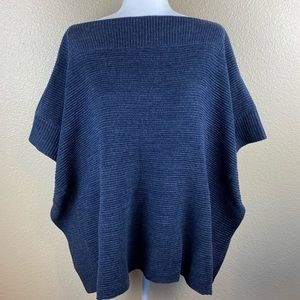 NWT Loft Outlet One Size Sweater Poncho Blue/Gray
